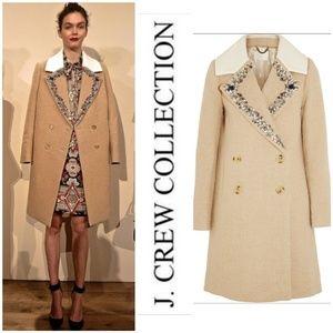 J Crew collection embellished wool-blend coat
